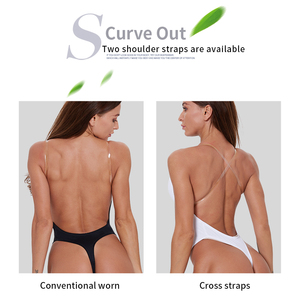 Image 4 - waist trainer shaper Body tummy Shaper Shapewear Faja women Deep V Bodysuit Clear Strap Backless Plunge Thong Push Up padded Bra