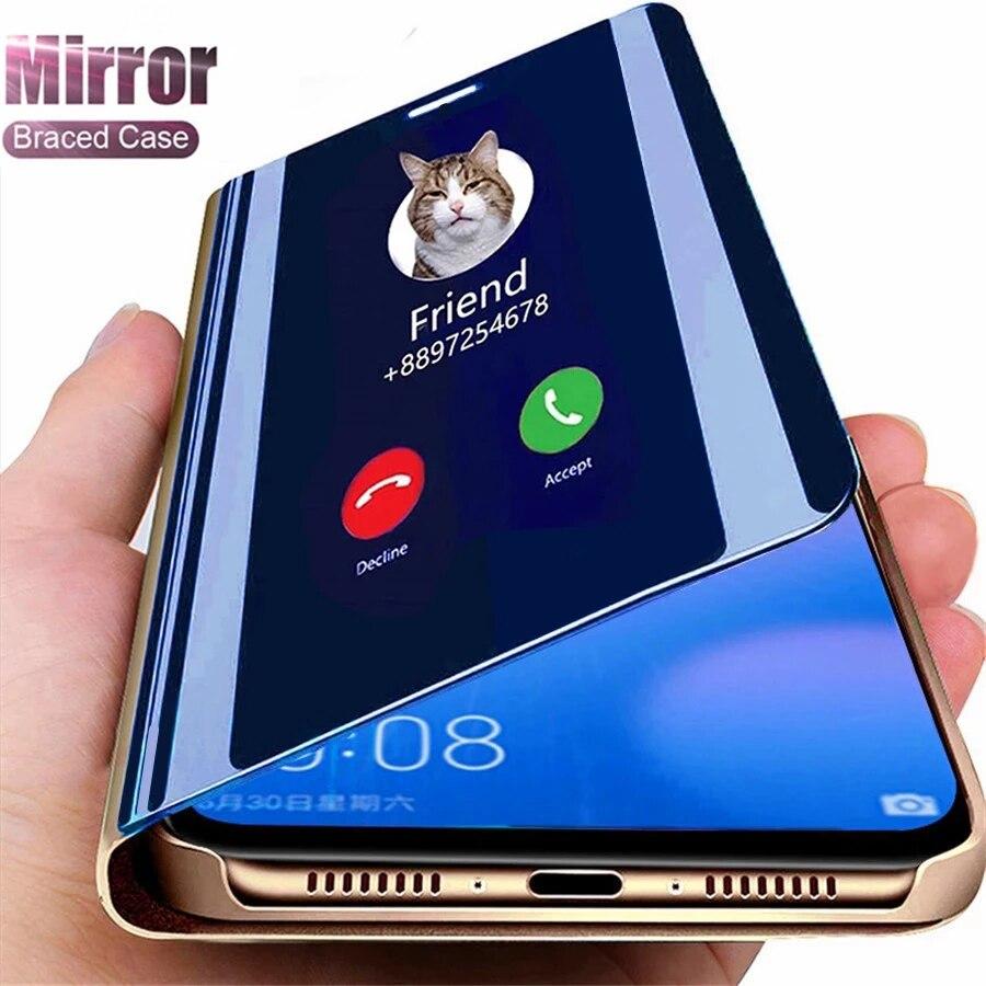 Funda abatible con espejo inteligente para Samsung Galaxy, carcasa con tapa para Samsung Galaxy S21 Plus S20 Ultra S10 Lite 2020 S10E S20 FE S8 S9 S7 Edge Note 8 9 10 Pro 20