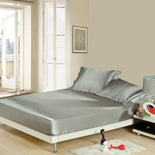 1pc macio cor sólida cetim de seda lençol com elástico folha de cama capa (sem fronhas) rainha completa tamanho rei dropshipping