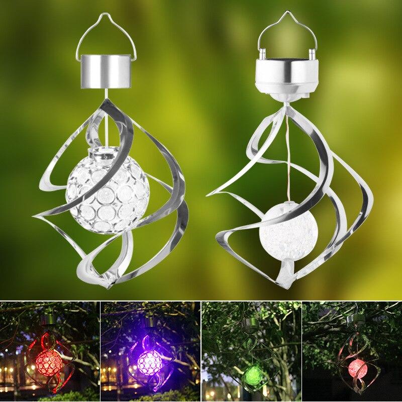 LED Solar Light Outdoor Waterproof Solar Powered Colorful Wind Chime Style Light Garden House Roadside Decorative Solar Light