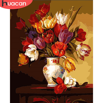 HUACAN Paint By Number Flowers In Vase Kits Drawing Canvas HandPainted Oil Painting By Numbers Pictures DIY Gift Home Decor