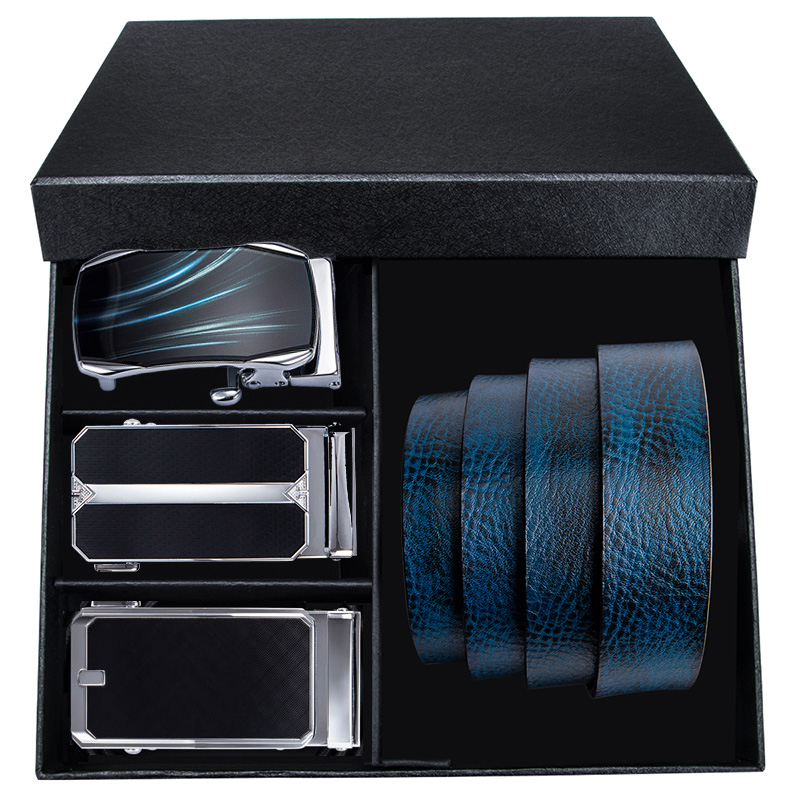 Hi-Tie Brand Men's Box Belt Luxury Blue Cowskin Genuine Leather Automatic Buckle Belts For Mens Casual Cowboy Jeans Belt Strap