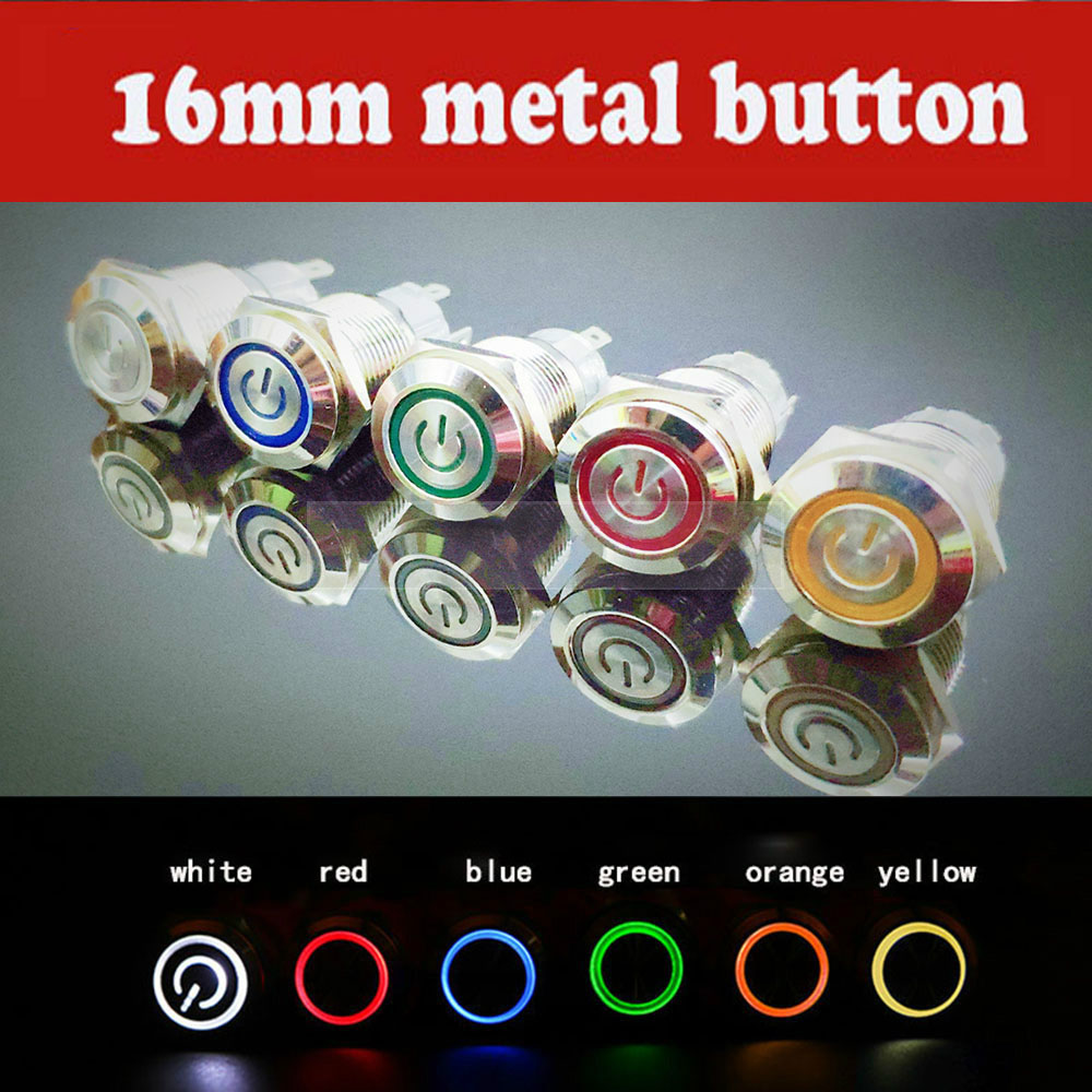 16mm metal push button switch Waterproof Flat circular on-off button LED light self-lock self-reset 1NO1NC power switch