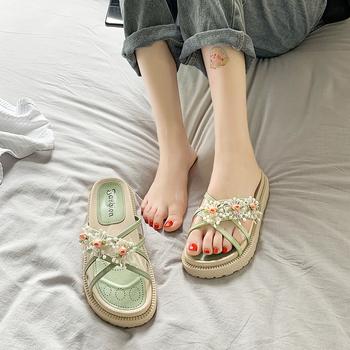 2021 nowy styl bajki sandały damskie odkryte sandały na platformie damskie sandały z wystającym palcem kwiaty sandały dla kobiet sandały Femmes tanie i dobre opinie Alittwishs CN (pochodzenie) Med (3 cm-5 cm) 3-5 cm Na co dzień podstawowe Płaskie z Otwarta RUBBER Wsuwane Dobrze pasuje do rozmiaru wybierz swój normalny rozmiar