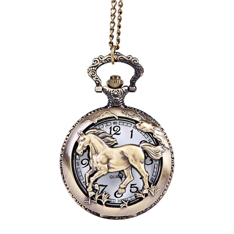 Pocket Watch Horse Pattern Quartz Watch Vintage Chain Retro Pocket Watch With Necklace For Men Gift