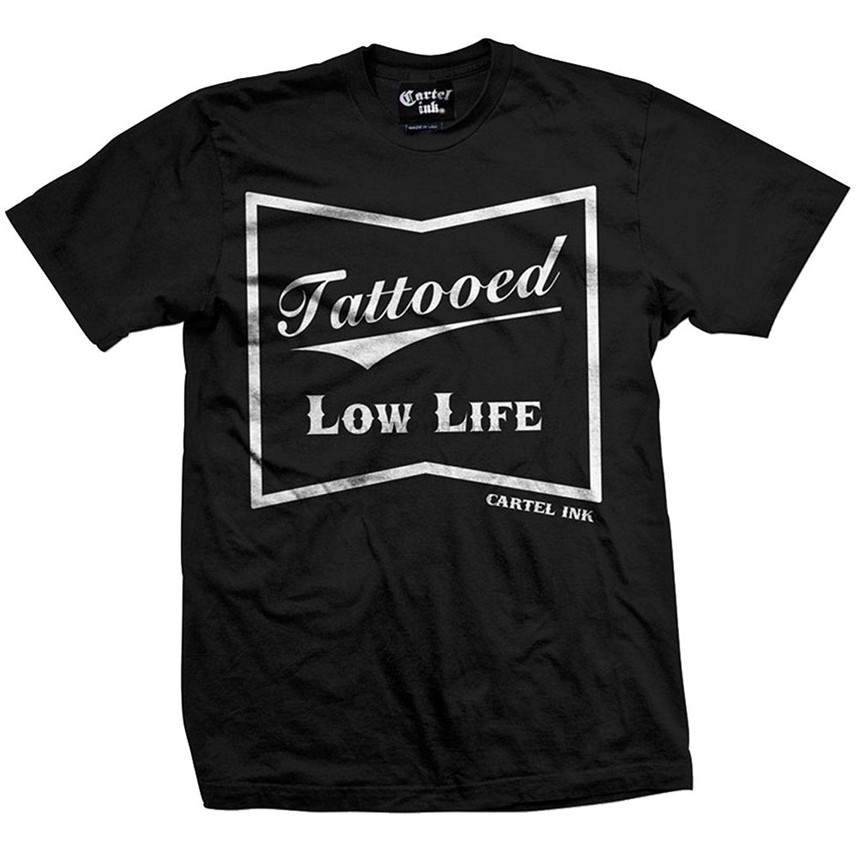 Cartel Ink Men& Tattooed Low Life T-Shirt Black Custom Made Good Quality T Shirt Top Tee Short Sleeve Hipster Tees Top Tee