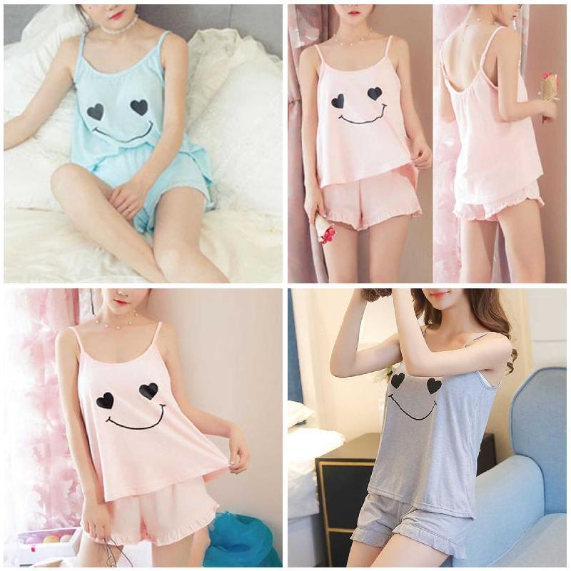 (Free Gift)Newly Women Girl Lady Sleeveless Nightgown Set Pajamas Sleepwear Summer Sling Comfortable For Home FIF66