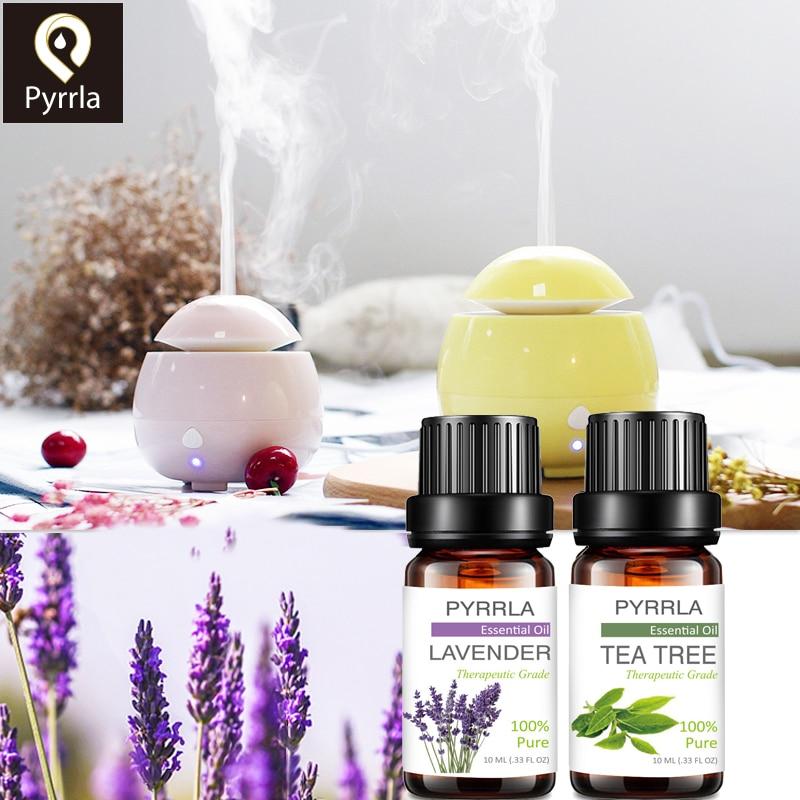 Pyrrla 10ML Pure Essential Oil Massage Humidifier Tea Tree Orange Rose Peppermint Eucalyptus Lemongrass Lavender Ginger Aroma(China)