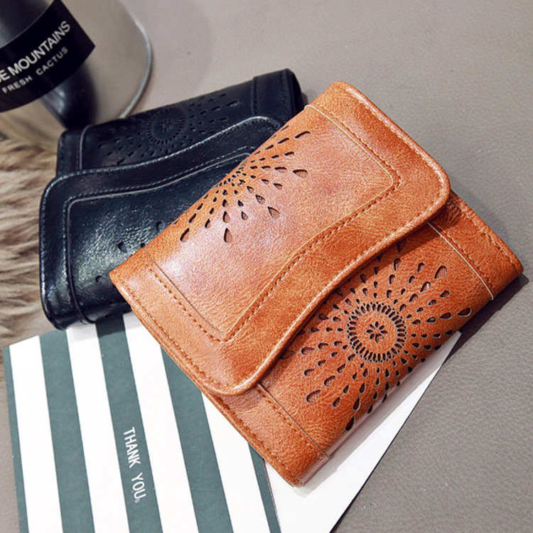 New Arrival Wallet Short Women Wallets Zipper Purse Hollowing Out Fashion Panelled Wallets Trendy Coin Purse Card Holder Leather in Wallets from Luggage Bags