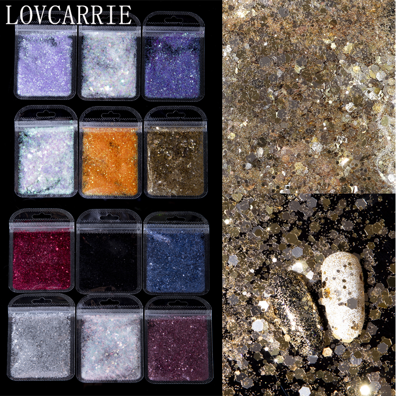LOVCARRIE 1 Bag Nail Glitter Powder Holographic Black Gold Face Glitter Sequins Flakes Nail Accessories For Nail Art Decorations