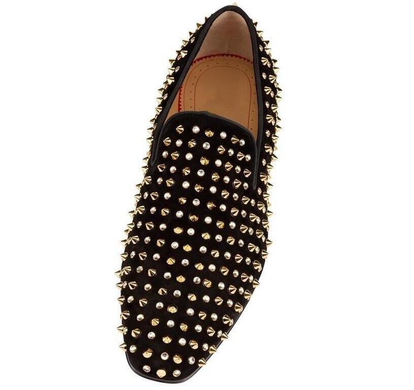 Новинка; брендовые лоферы с красной подошвой; Роскошная обувь для вечеринки и свадьбы; дизайнерские черные модельные туфли из лакированной кожи и замши; мужские слипоны на плоской подошве - 5