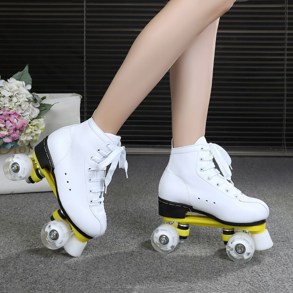 Adult Double Row Roller Skate Shoes Black White Outdoor 4 Wheels Training Shoes Man Woman Sports Patines Shoes