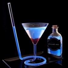 Creativo tornillo espiral paja Molecular cóctel de vidrio de vino Bar fiesta transparente vaso para Martini champán de vidrio de vino