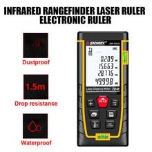 SNDWAY Laser Distance Meter Tape 50M 70M 100M 120M Rangefinder Trena Laser Tape Range Finder For Build Construction Tools