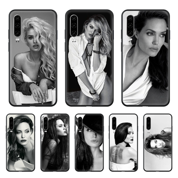 Celebrity Angelina Jolie beauty Phone case For Huawei P 30 10 20 40 Lite Smart Z Pro 2019 black cell cover soft hoesjes 3D image