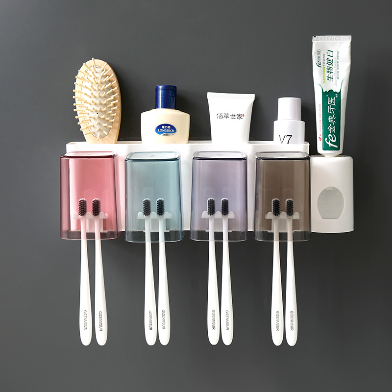 Multifunction Bathroom Accessories Storage Toothbrush Holder Save Space Health Durable Easy To Clean Home Toothpaste Dispenser