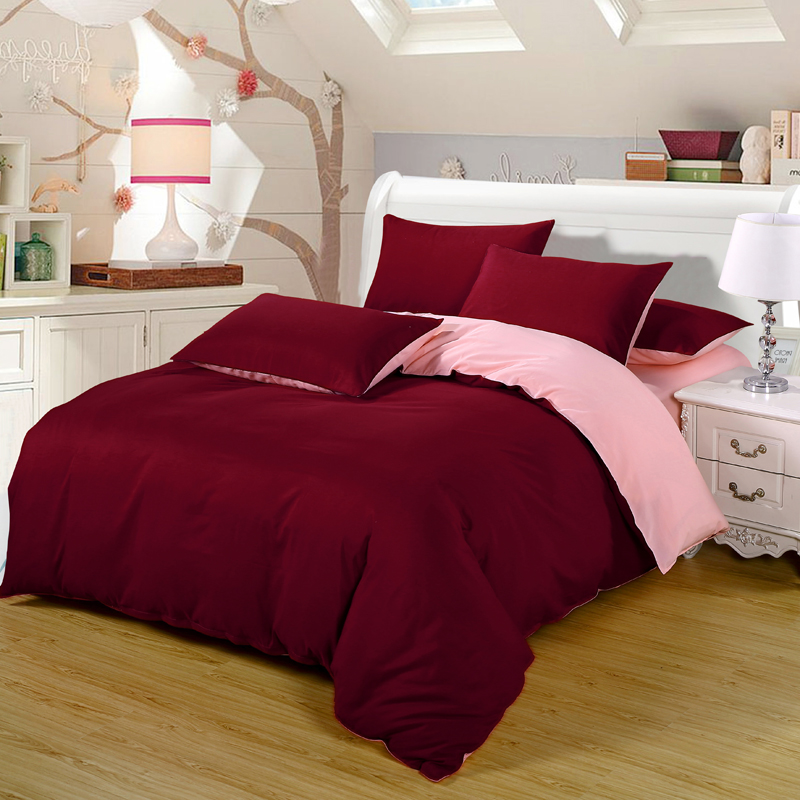 Pillowcase Bedding-Sets Wine Double-Color Bed-Sheet Duvet-Cover King-Queen Single-Size