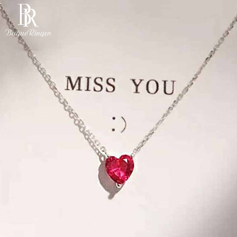 Begua Ringen 925 Sterling Silver Necklace Red Heart-shaped Clavicle Chain Simple Crystal for Women Wedding Jewelry Wholesale