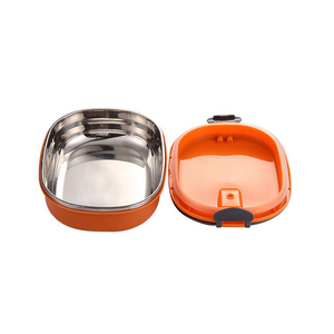 Stainless Steel Lunch Box Food Container Tiffin Square Carrier Green Orange