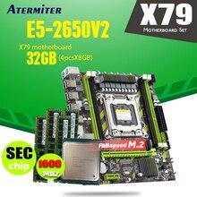 CPU Xeon E5 2650 V2 SR1A8 E5 2650 V2 X79 G X79 motherboard LGA2011 combos 4pcs * 8GB = PC3 12800R DDR3 32GB de memória RAM 1600Mhz