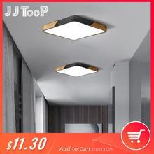 Moderna luz de teto led ultra fino superfície montado luminária quarto hall cozinha decoração da casa de madeira lâmpada controle remoto