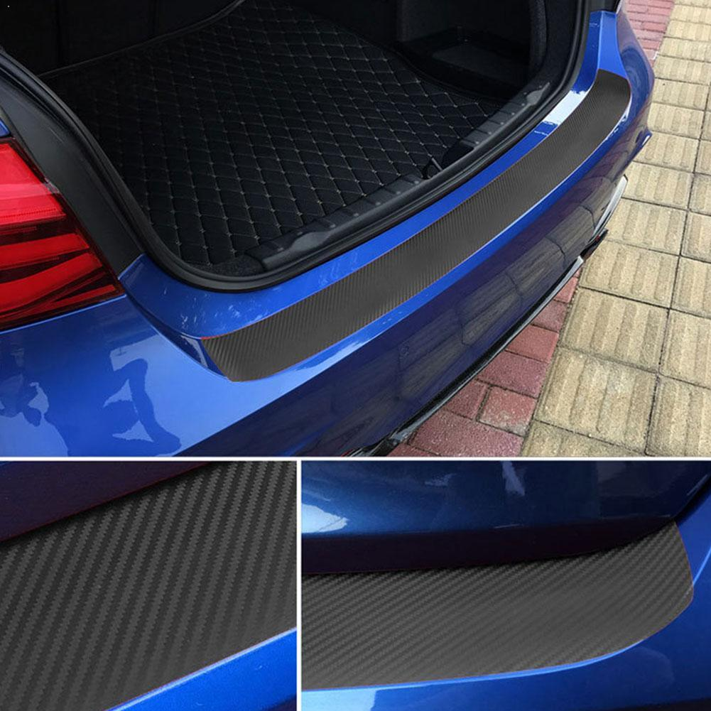 1pcs Universal Car Door Sill Carbon Fiber Sticker Rear Protective Anti Scratch Trunk Film Pedal Kick Guard Strip Protection M4R8