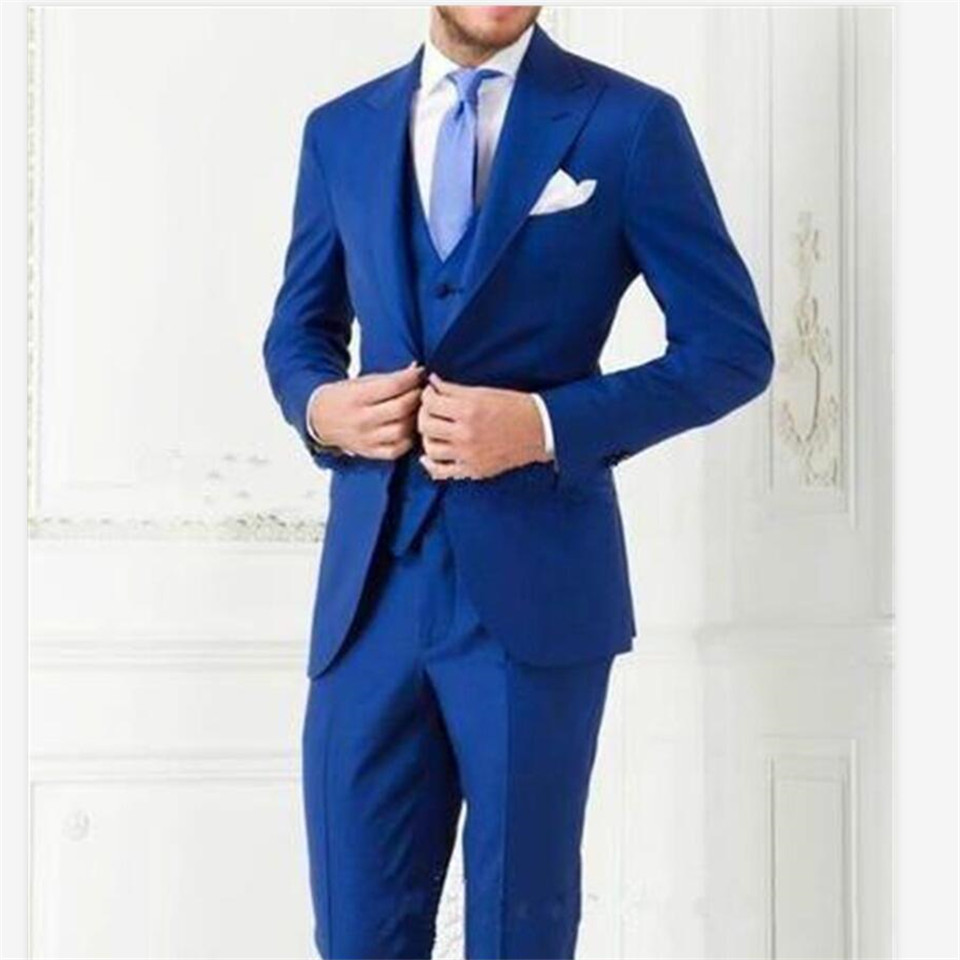 New Classic Men's Suit Smolking Noivo Terno Slim Fit Easculino Evening Suits For Men Blue Peaked Lapel Tuxedo Groomsman Bridegro