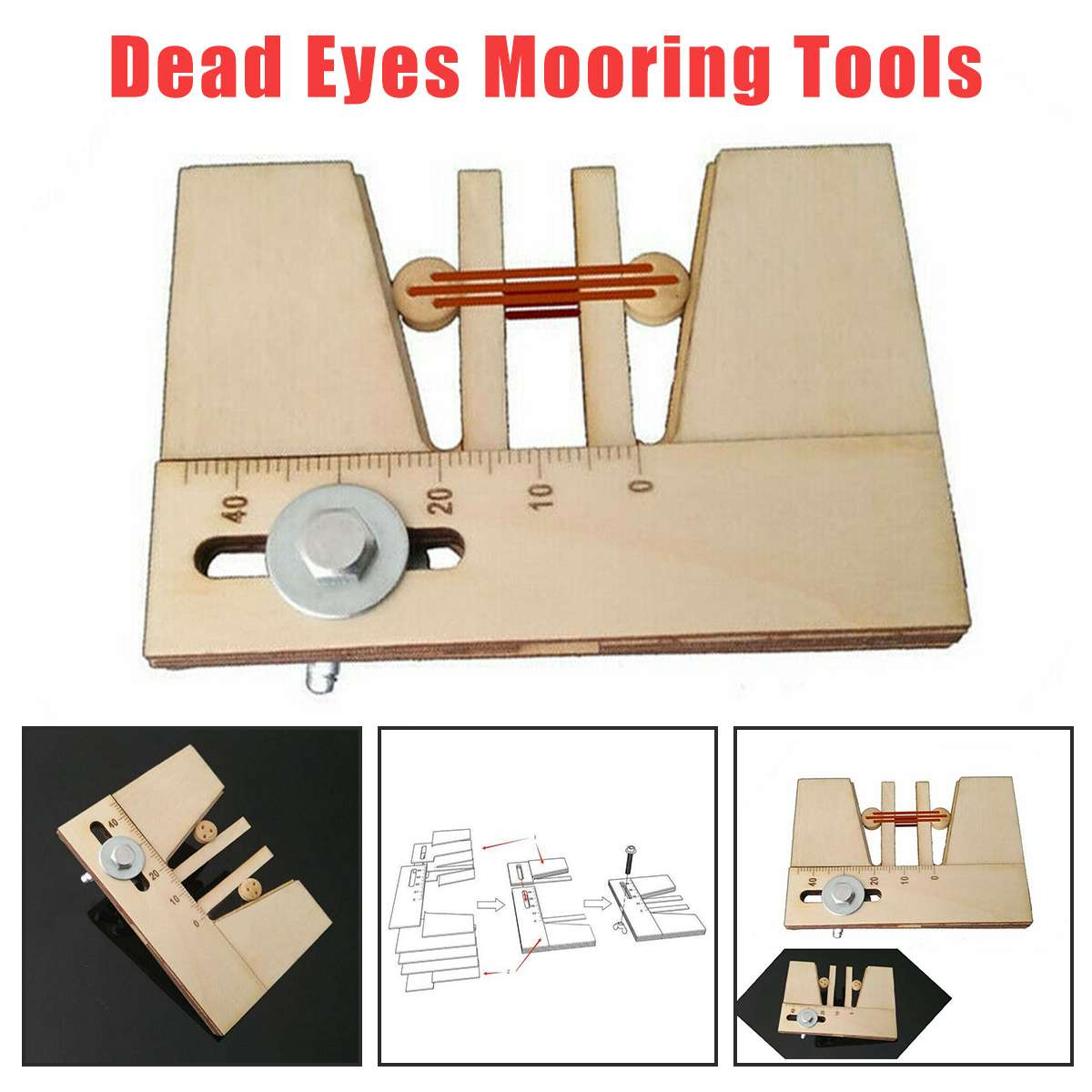 CUTEACC Auxiliary Wooden Dead Eyes Mooring Tool Fix Tools For Wood Ship Model Kit Adjustable Accessories Fix Hand Mooring Tool