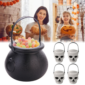 10pcs Lot Halloween Candy Pot Halloween Cauldron Novelty Halloween Bucket Ornament Skull Witch Toy Purposed