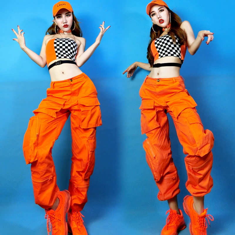 Jazz Dance Costumes Lady Orange Tooling Trousers Dj Clothes Women Female Singers Nightclub Stage Outfit Performance Wear DNV11971