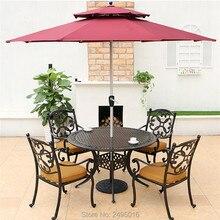 Набор из 5 частей литая алюминиевая уличная мебель обеденный набор стулья с подлокотниками с круглым столом dia120cm для бассейна, без зонта
