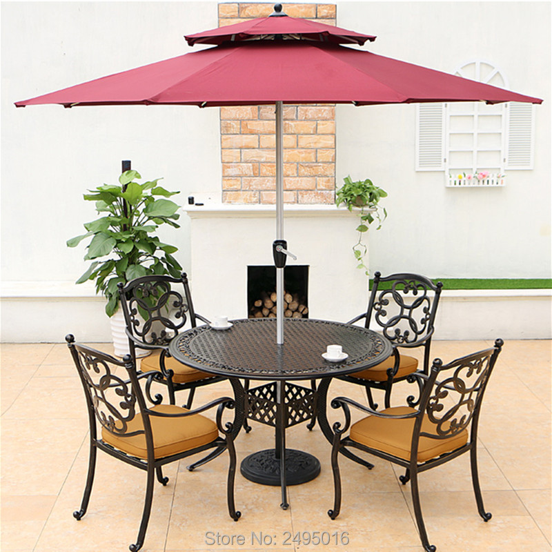 Set Of 5-piece Cast Aluminum Outdoor Furniture Dining Set  Armrest Chairs With Round Table Dia120cm For Poolside, No Umbrella