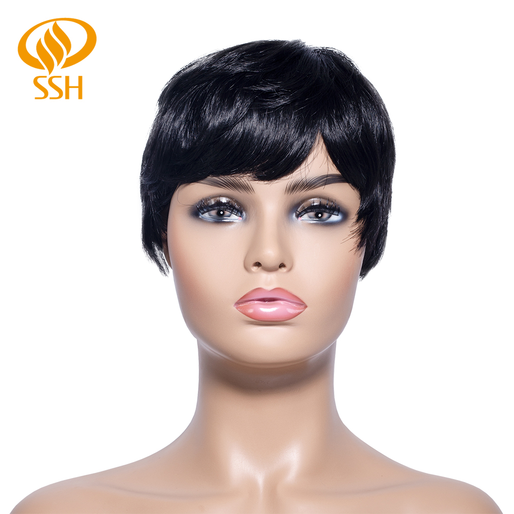 SSH Short Human Hair Wigs With Bangs Jet Black Color For Brown Girl/Women Non Remy Human Hair