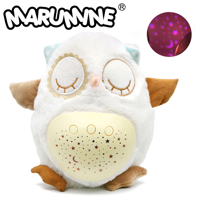 Marumine Baby Sleep Soother White Noise & Lullaby Sound Machine With Star Projector Music Owl Comfort Plush Toys For Baby Sleep