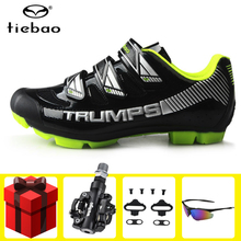 цена на TIEBAO MTB Cycling Shoes Sapatilha Ciclismo Mtb Men sneakers chaussure vtt Mountain Bike Shoes Bicycle SPD Cleat sports shoes