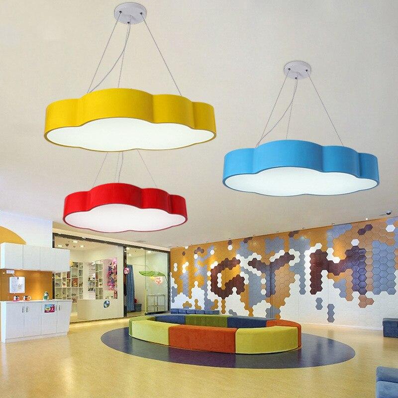 LED Cloud Pendant Lamp Iron Lampshade Luminaire Pendant Light Children Baby Kids Bedroom Light Fixtures Colorful Lighting Light