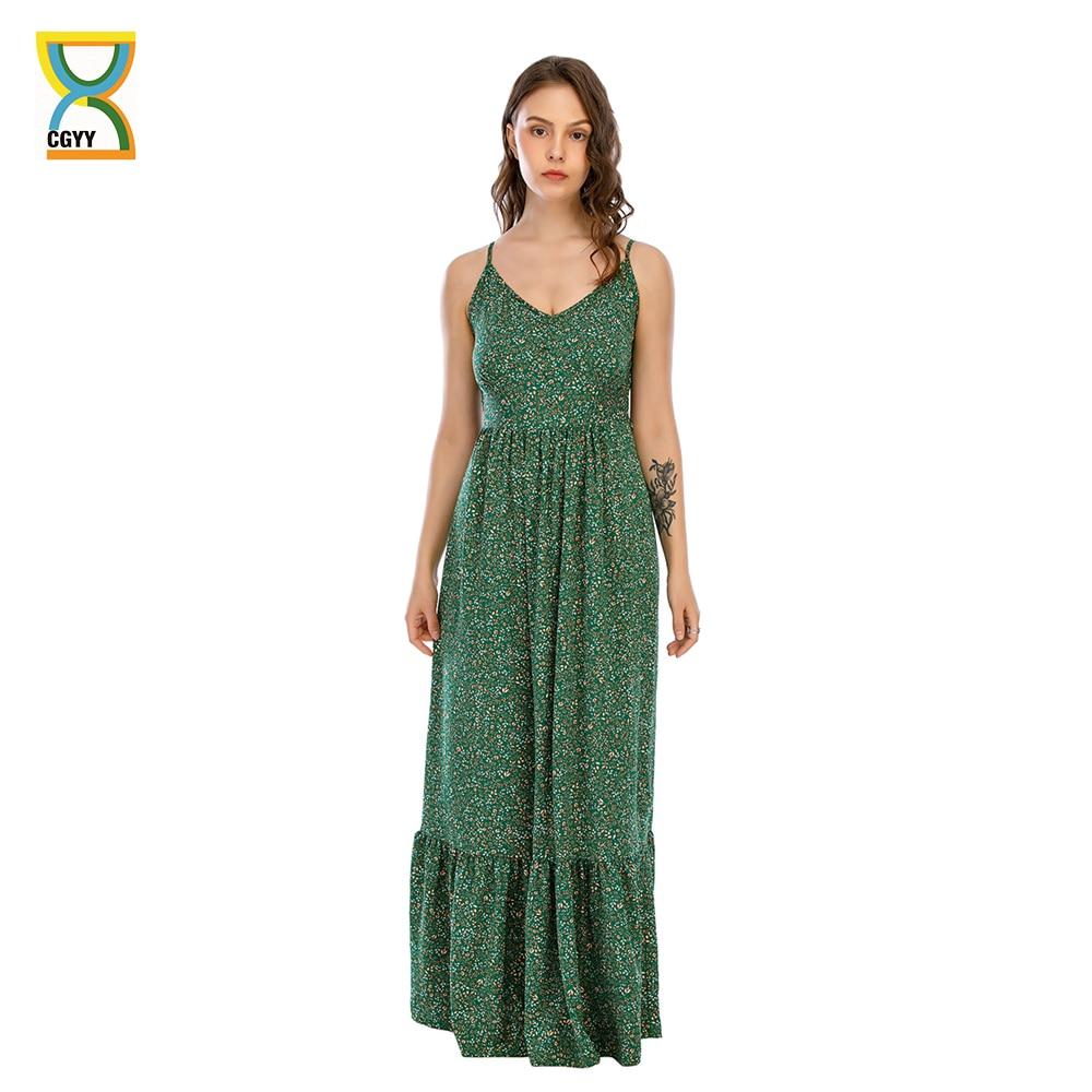 CGYY 2021 Vintage Chic kobiety kwiatowy Print pojedyncze łuszcz plaża czeski Maxi sukienka panie V Neck Sashes lato Boho Vestidos