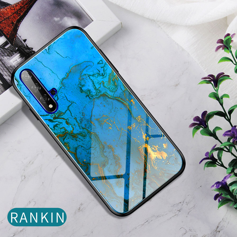 H29357d92dc984ab7bdfef148fd379ad5G Phone Case for Huawei Honor 20s 20 Case Marble Tempered Glass Soft Tpu Frame Back Case for Huawei Honor 20s Honor 20 Pro Case