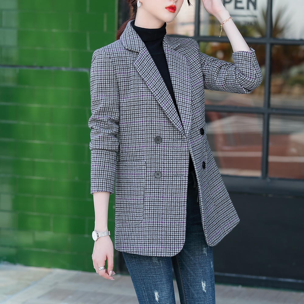 FW2020 New Design Women's Blazer Fashion Jacket  Outerwear Jacquard Plaid Heavy Quality Double Breasted Synthetic Self Belt Coat