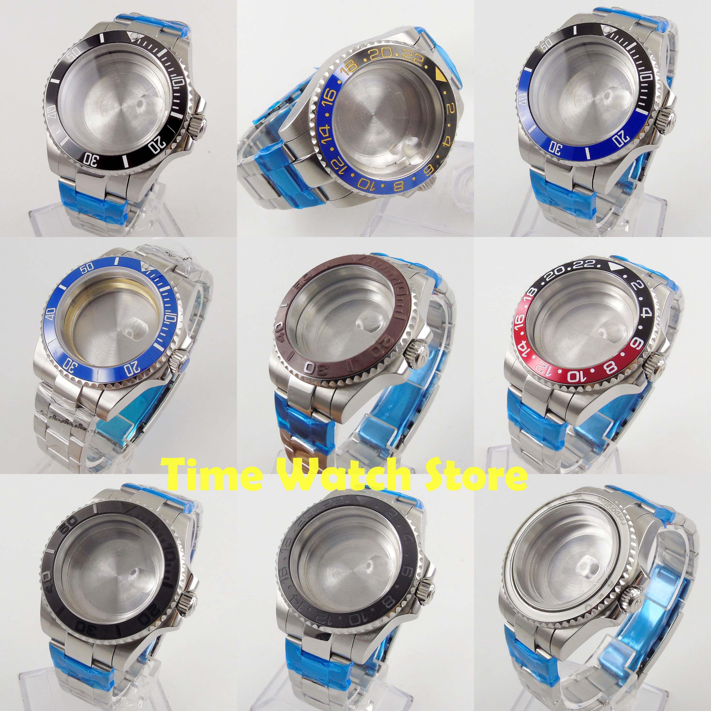 40mm Watch Case 316L Stainless Steel Fit ETA 2836 Miyota 8215 DG 3804 Date Magnifier Sapphire Glass Black Blue Ceramic Bezel