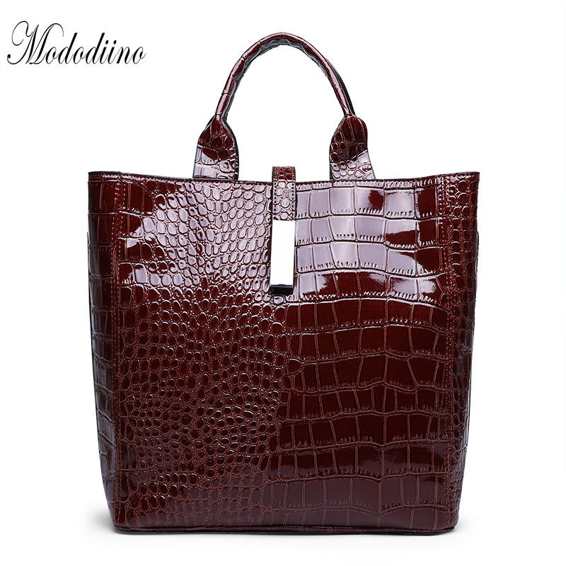 Mododiino Crocodile Handbag Women Bag Leather Bucket Casual Tote Bags Shoulder Ladies Luxury DNV1199