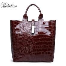Mododiino Crocodile Handbag Women Bag Leather Bucket Casual Tote Bags Shoulder Ladies Luxury DNV1199