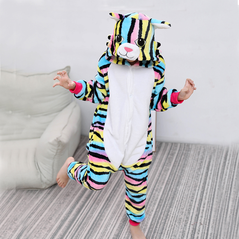 Kigurumi Cat Onesies For Kids Pajamas Winter Unicorn Sleepwear Children's Pyjamas Kids Boys Girls Cosplay Pijamas Suit Overalls