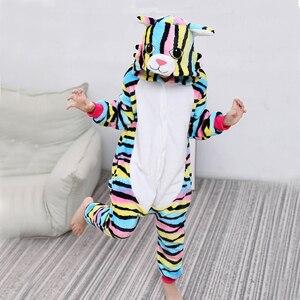 Kigurumi Cat Onesies For Kids Pajamas Winter Unicorn Sleepwear Children's Pyjamas Kids Boys Girls Cosplay Pijamas Suit Overalls(China)