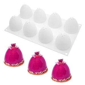 8 wnęka półokrągłe jajko silikonowe formy czekoladowe mus ciasto formy deser foremka do musu narzędzie do dekoracji ciast narzędzia akcesoria do ciast