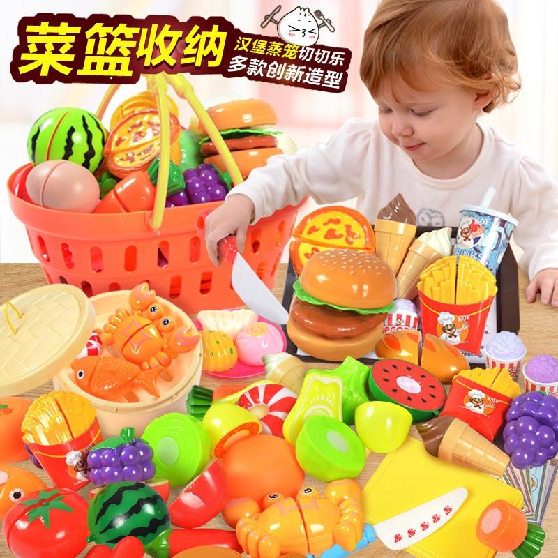 Children Play House Kitchen Toy Set Model-Slicer Fruit Vegetable Baskets Steamer Bread Cutting