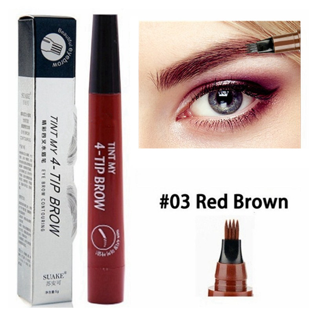 5 Colors Eyebrow Pen Waterproof 4 Fork Tip Eyebrow Tattoo Pencil Cosmetic Long Lasting Natural Dark Brown Liquid Eye Brow Pencil 3