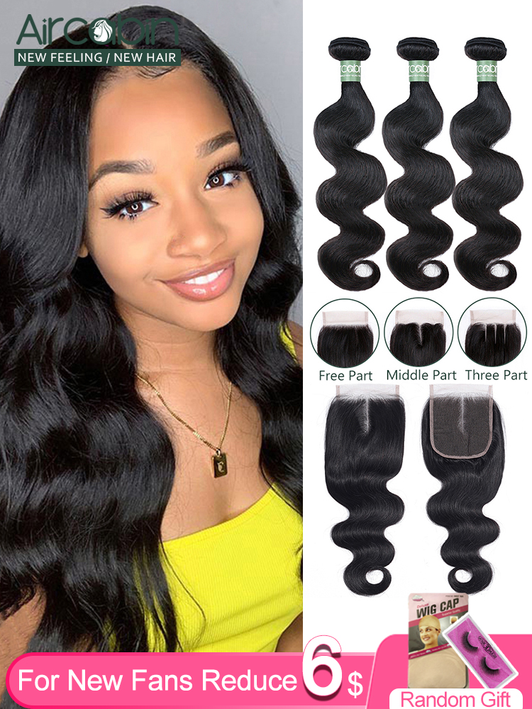 Aircabin Body-Wave-Bundles Closure Human-Hair-Extensions Lace Brown Double-Weft 30inch
