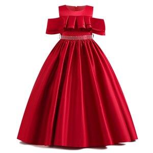 Image 3 - Robe de concours en dentelle pour filles, longue, tenue de soirée, de mariage, de fête danniversaire, de Communion, de pétales