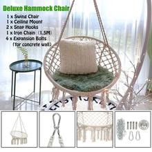Round Hammock Swing Hanging Chair Outdoor Indoor Dormitory Bedroom For Child Adult Safety with accessories